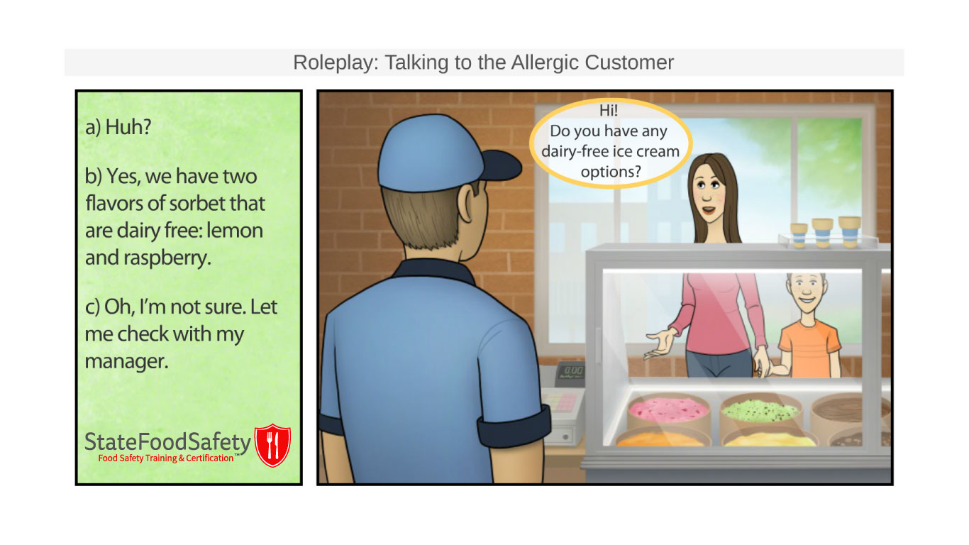Roleplay slide of conversation with an allergic customer